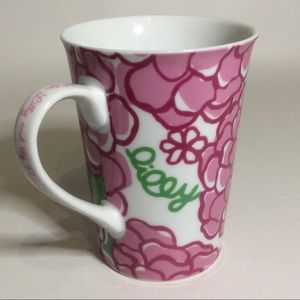 LIly Pulitzer Pink Flower Taper Ceramic Handle Cup